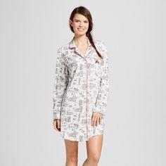 Laura Ashley Women's Cotton Jersey Notch Collar Sleep Shirt - I Love Italy - White M, Black White