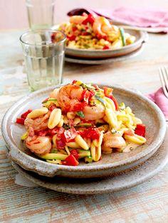 Cavatelli mit Zucchini und Garnelen