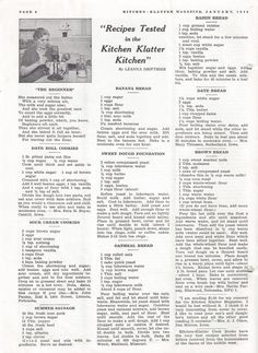 Kitchen Klatter Magazine, January 1940 - The Beginner, Date Roll Cookies, Sour Cream Cookies, Summer Sausage, Banana Bread, Sweet Dough Foundation, Oatmeal Bread, Raisin Bread, Date Bread, Brown Bread