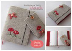 Buchhüllen - Buchhülle aus starkem Filz Glückspilz - ein Designerstück von herziggenaehtes bei DaWanda