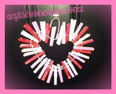 Valentine's Day clothespin heart wreath! This is so cute for the kids to make!