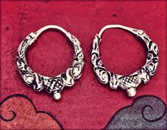 Gypsy Hoop Earrings with Repoussee  XSmall  With Patina