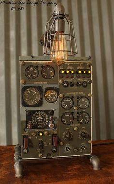 Steampunk Machine Age Aviation Lamp Instrument Control Panel Industrial Art | Antiques, Decorative Arts, Lamps | eBay!