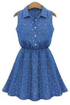 All-matched Collar Denim Dress