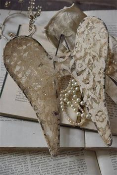 Tea Dyed Lace Angel Wings
