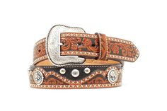 Genuine leather Removable buckle Black with brown scalloped overlay Silver conchos and embellishments throughout Leather Belts, Tan Leather, Men's Belts, Studs, Casual, Silver, Accessories, Black, Fashion