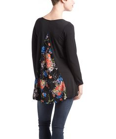 Love this Black & Coral Maternity Back Panel Tunic - Plus Too on #zulily! #zulilyfinds