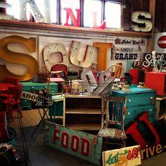 Vintage Booth~Painted vintage signs~Furniture~Junk~Metal Letters @ the prairie sisters show