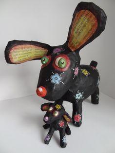 Cuíca e Cavaquinho - Paper mache dogs