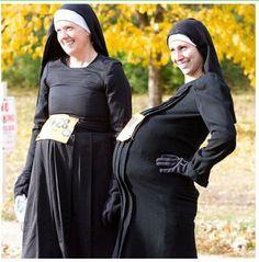 Fake Pregnant Fake Nuns Original Halloween Costumes, Star Wars Halloween Costumes, Run Disney Costumes, Running Costumes, Funny Costumes, Baby Costumes, Costumes For Women, Halloween Party, Nun Costume