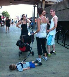 That moment when your mom stops to talk with people on the streets...