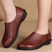 Mujeres de cuero marrón zapatos planos del cuero genuino Casual Slip on de los holgazanes nuevo 2015 primavera / otoño zapatos ( 3005 )