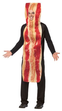 Perfect with our fried egg costume, this one-piece tunic looks like bacon. All that's missing is that delicious smell! Remind your friends that breakfast is the most important meal of the day! One siz