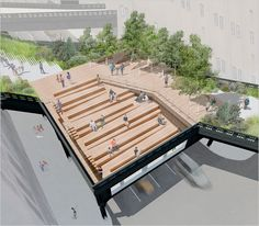 A Glimpse at the Future High Line - The New York Times > N. / Region > Slide Show > Slide 10 of 12 Architecture Student, Architecture Drawings, Architecture Design, Theatre Architecture, Architecture Diagrams, Landscape And Urbanism, Landscape Design, Amphitheater Architecture, Highline Nyc