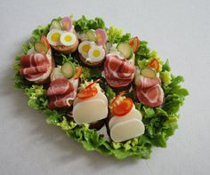 Canape sandwiches on metal tray by orsisminis on Etsy Tiny Food, Fake Food, Nibbles For Party, Food Trays, Metal Trays, Thing 1, Appetisers, Canapes, Miniature Food