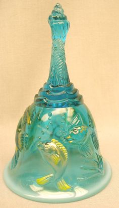 Ocean Sea:  A gorgeous Fenton Art Glass Blue Lagoon Opalescent Atlantis Bell, with sculptural fish.  Handpainted by Michelle Kibbe.