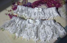 heirloom venice lace bride's garter set - white or candle - one to throw - one to keep.  Perfect