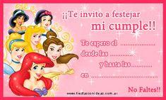Tarjeta de cumpleaños para imprimir con todas las Princesas de Disney