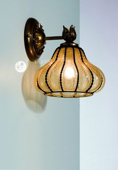 """Perla"" #Murano #glass #wall #lamp #light #venetian #lantern #classic #design #Muranolampstore #handcrafted https://www.muranolampstore.com/en/murano-glass-wall-lamp-cage-perla"