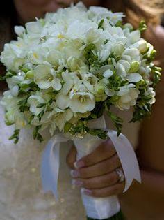 Freesia, white freesia wedding bouquet