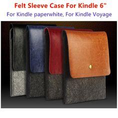 Fashion PU Leather Match Felt Case For 6 inch <font><b>Amazon</b></font> <font><b>Kindle</b></font>, Cover For <font><b>Kindle</b></font> Paperwhite, Bag For <font><b>Kindle</b></font> Voyage, Free Shipping. Price: USD 6.85 | UnitedStates