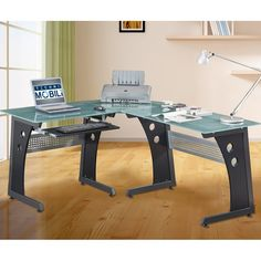 This multifunctional, ergonomic L-shaped tempered glass computer desk is ideal for your study or home office. With frosted glass and graphite styling, this beautiful and unique computer desk provides plenty of workspace and storage. Office Workstations, Home Office Desks, Office Furniture Stores, Gaming Furniture, Glass Fit, Privacy Panels, L Shaped Desk, Best Desk, Black Desk