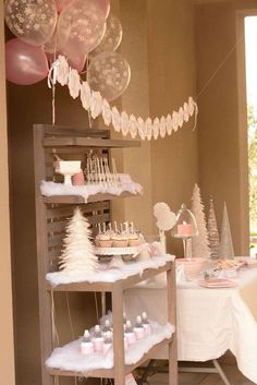 Winter Onederland birthday party decorations! See more party planning ideas at CatchMyParty.com!