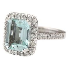 Scintillating Aquamarine AAA with Natural Diamond Ring Solid Gold Solid Gold, White Gold, Beautiful Diamond Rings, Natural Diamonds, Jewelry Crafts, 18k Gold, Engagement Rings, Stone, Enagement Rings