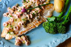 Pan-fried Hake with Brown Shrimp and Caper Butter Sauce