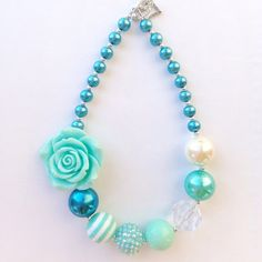 Turquoise Flower Girl Necklace by LoveBloomsHereshop on Etsy