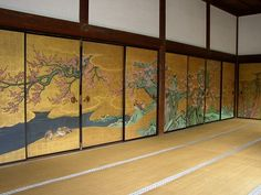 Koubai Room (artist: Kano Sanraku) (Daikaku-zi Temple, Kyoto) was completed in 1673 was designated as an important cultural property.