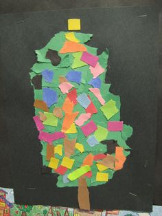 Torn paper Christmas tree craft, would be cute to use strips of graduating lengths for the tree and have child put in order biggest to smallest.