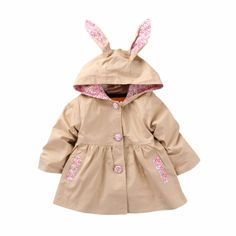 Baby/Toddler Girl's Floral-Accent Hooded Swing Trench Coat in Khaki, 58% discount @ PatPat Mom Baby Shopping App