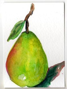 ACEO Original Green Pear  Painting Art Card, Fruit watercolor