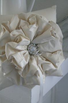 Ivory Ruffle Ring Bearer Pillow by SweetBiscuitPandP on Etsy, $58.00