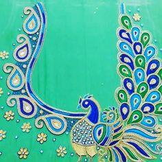 Peacock Blouse Designs, Peacock Embroidery Designs, Cutwork Blouse Designs, Hand Embroidery Design Patterns, Embroidery Works, Fancy Blouse Designs, Machine Embroidery Designs, Hand Work Blouse Design, Aari Work Blouse