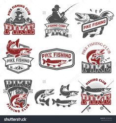 Pike fishing club. Fisherman's icons. Design elements for logo, label, emblem, sign. Vector illustration.
