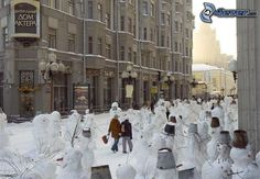 snehuliaci, ulica, Rusko, zima