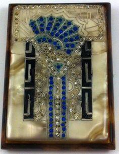 Art Deco Celluloid and Rhinestone Cigarette Case