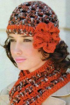 Hat and scraf ♥LCH♥ with diagrams.  Patrones Crochet: Conjunto Gorro y Bufanda Vintage Crochet-Tricot