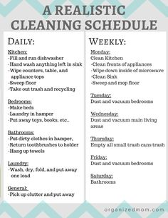 A realistic cleaning schedule moms can actually stick with. Organizing Tips. Cleaning Tips and tricks. House Cleaning Checklist, Clean House Schedule, Household Cleaning Tips, Diy Cleaning Products, Cleaning Solutions, Cleaning Hacks, Apartment Cleaning Schedule, Monthly Cleaning Schedule, New House Checklist
