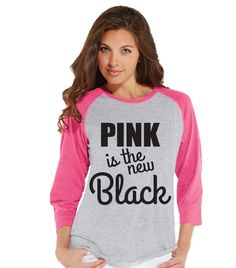 Women's Cancer Awareness Shirt - Pink is the New Black - Pink Raglan Shirt - Women's Baseball Tee - Cancer Support Top - Fight Cancer Shirt