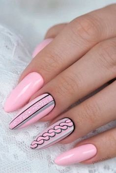 Daily Charm: Over 50 Designs for Perfect Pink Nails Light Oink Nails With Black Accents ★ Who doesn't love pink nails? We have picked some nail designs in pink shades that look simply adorable. Check them out here. Cute Nails, Pretty Nails, Nail Decorations, Beautiful Nail Art, Nail Polish Colors, Cool Nail Art, Halloween Nails, Pink Nails, Nails Inspiration