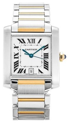 This is a pre-owned Cartier Tank Francaise W51005Q4 Ladies Watch. It has a 26mm Stainless Steel Case, Stainless Steel Bezel, a Silver Roman Numeral dial and a Stainless Steel and Yellow Gold bracelet. Date display at 6 o'clock position. It is powered by an Automatic movement. In good condition. No box or paper. Comes with 2 Year Warranty from Luxury Watches NYC.