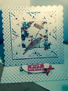 "Scalloped Christmas Easel Card featuring artwork from the ""country diary of an Edwardian Lady""."