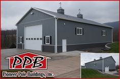 """42' W x 80' L x 18' 6"""" H - Garage! For More Details! http://pioneerpolebuildings.com/residential/project/42-w-x-80-l-x-18-6-h-id-461-total-cost-contact-us"""