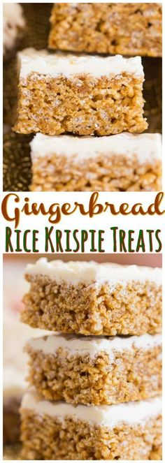 Gingerbread Rice Krispie Treats - The Gold Lining Girl hese Gingerbread Rice Krispie Treats get a festive kick of flavor from the addition of ginger, molasses, and crushed gingersnaps! Topped with a smooth, creamy layer of melted white chocolate! New Year's Desserts, Christmas Desserts, Christmas Baking, Dessert Recipes, Rice Recipes, Christmas Treats, Fudge Recipes, Dessert Bars, Christmas Cookies
