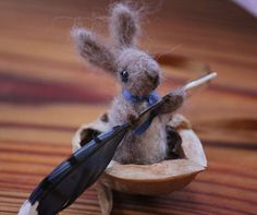 Needle Felted Bunny in a Walnut Shell