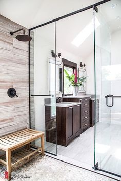 Magda of Euro Style Interior Design based in Chicago sent along some photos of a bathroom design she recently completed and it is stunning! Such incredible, warm textures. The scoop:My clients wanted