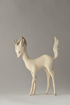Wood sculpture by Yoshimasa Tsuchiya Elizabeth Frank Artworks Toy Art, Illustrations, Illustration Art, Art Moderne, Animal Sculptures, Wood Sculpture, Oeuvre D'art, Art Dolls, Fantasy Art